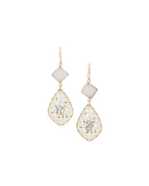Nakamol - White Druzy & Crystal Teardrop Earrings - Lyst