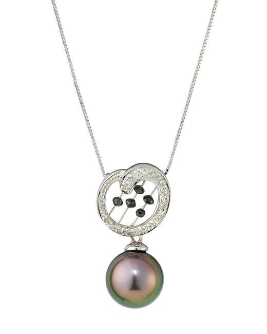 Belpearl   Multicolor 14k Tahitian Pearl Pendant Necklace W/ Black & White Diamonds   Lyst