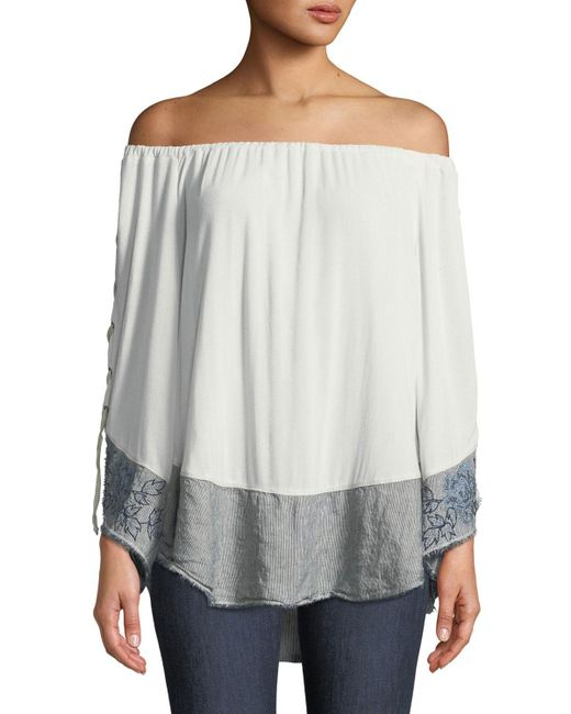 XCVI - Gray Off-the-shoulder Lace-up Sleeve Blouse With Linen Hem - Lyst
