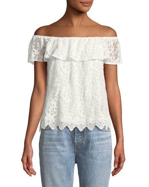 BB Dakota - White Zahara Lace Off-the-shoulder Top - Lyst