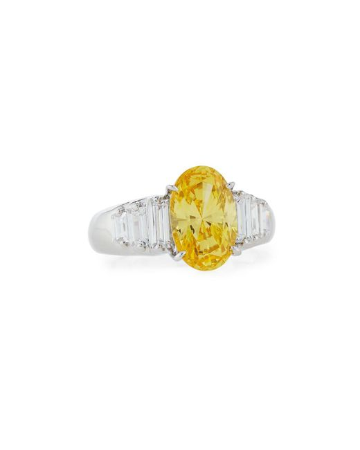 Fantasia by Deserio - Yellow Oval Cz Cocktail Ring W/ Stepped Baguettes - Lyst