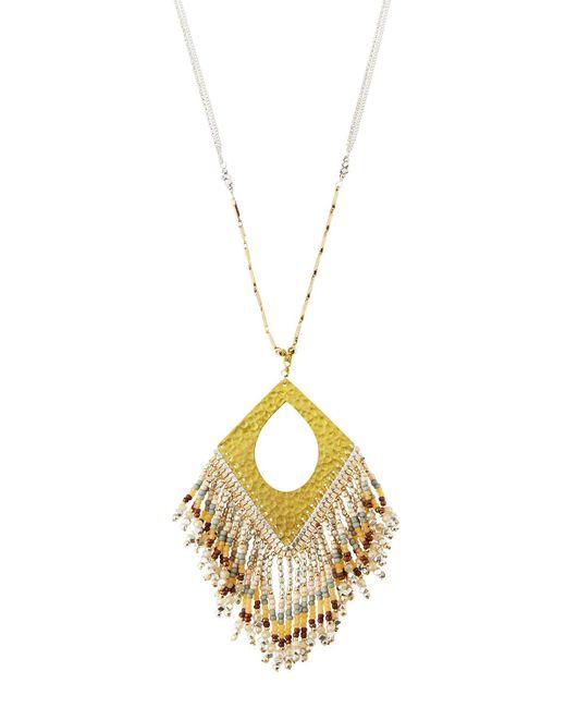 Nakamol | Gray Long Beaded Fringe Pendant Necklace | Lyst