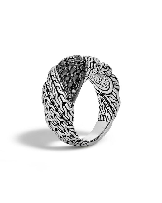 John Hardy - Black Classic Chain Silver Twisted Lava Ring Size 7 - Lyst