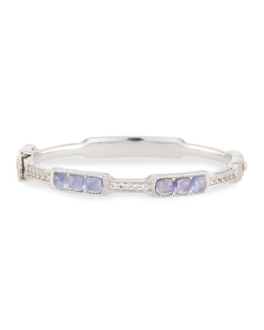 Jude Frances - Metallic Moroccan Silver Cushion Bangle Bracelet In Iolite - Lyst