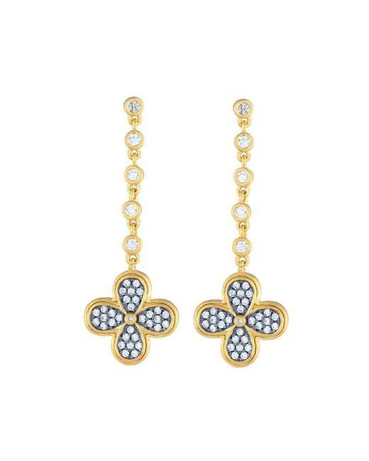 Freida Rothman | Metallic Blackened Pave Clover Drop Earrings | Lyst