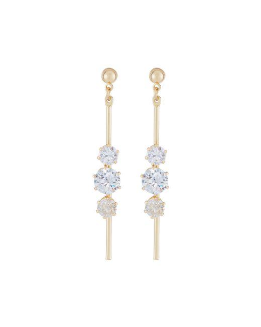 Fragments | Metallic Triple Crystal Linear Drop Earrings | Lyst