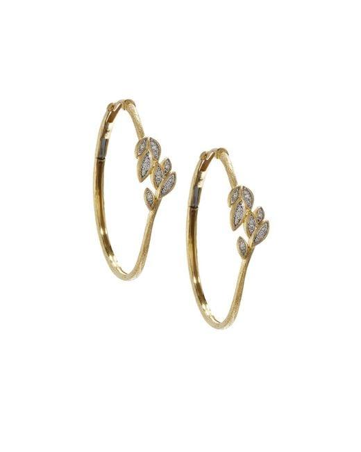Jude Frances | Metallic 18k Pave Diamond Leaf Hoop Earrings | Lyst