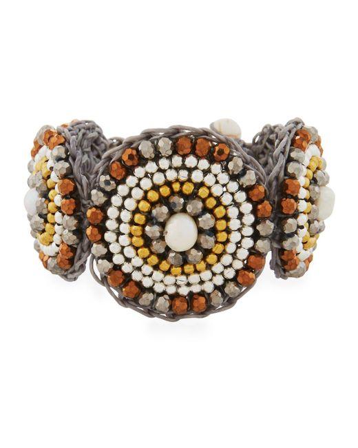 Nakamol | Metallic Pearl & Howlite Circular Bracelet | Lyst
