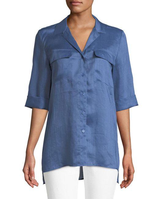 Lafayette 148 New York - Blue Fran Gemma Cloth Blouse - Lyst