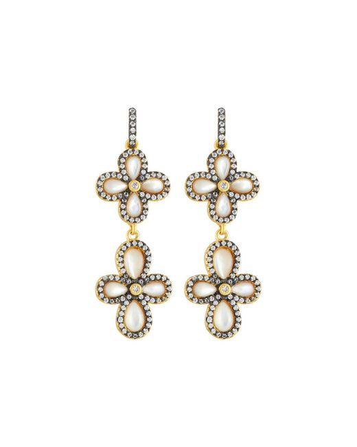 Freida Rothman | Metallic Double Pave Clover Drop Earrings | Lyst
