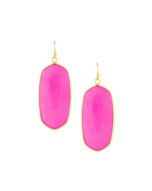 Panacea - Pink Linear Oval Drop Earrings - Lyst