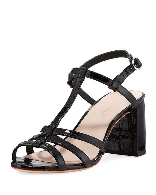 0d29f3603d5 Loeffler Randall - Black Elena Shiny Crocodile-embossed T-strap Block-heel  Sandals ...