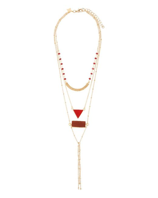 Panacea - Red Multilayer Crystal Necklace - Lyst