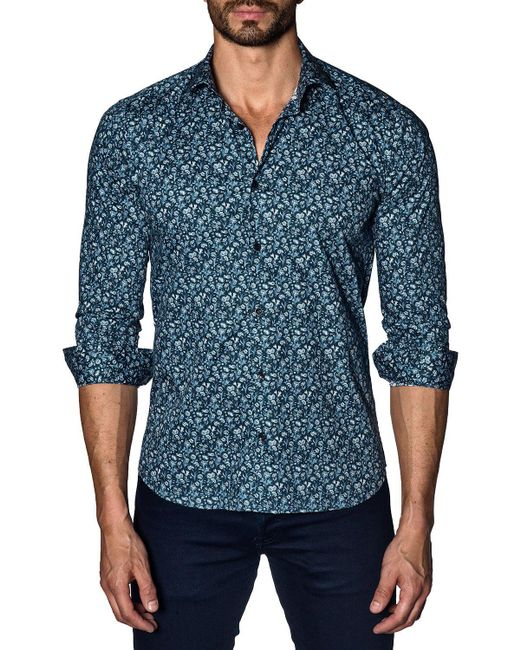 Jared Lang - Blue Men's Semi-fitted Rose-print Sport Shirt for Men - Lyst