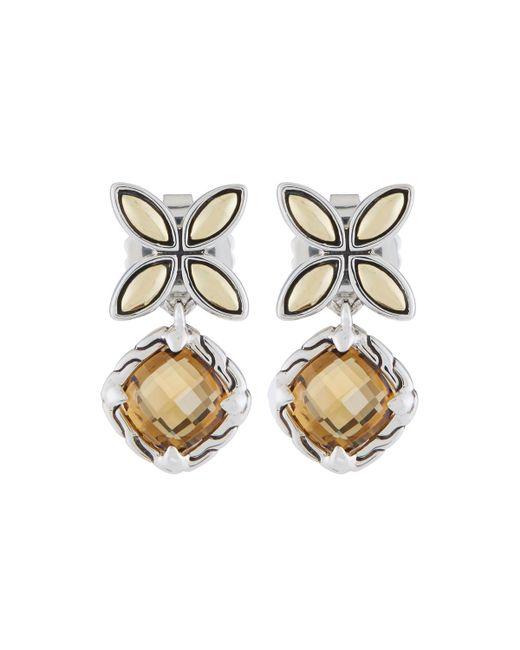 John Hardy - Metallic Kawung Cognac Quartz Drop Earrings - Lyst
