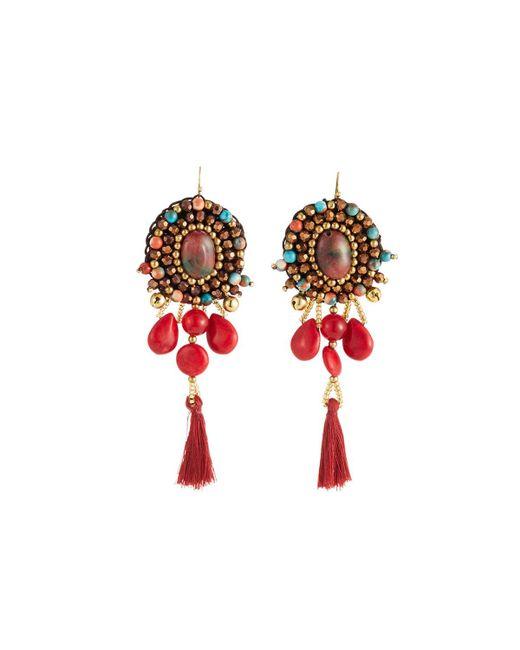 Nakamol - Red Multi-bead & Tassel Drop Earrings - Lyst