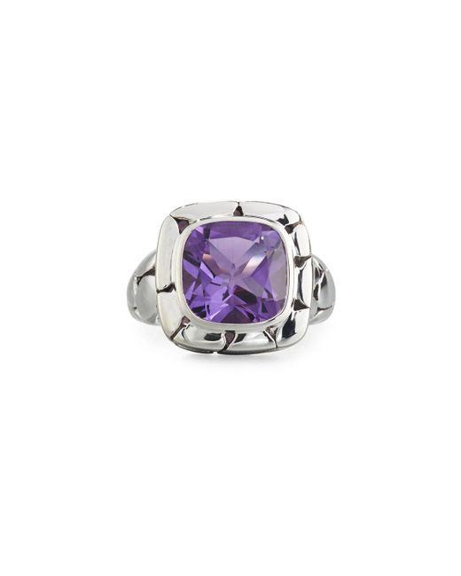 John Hardy - Purple Batu Kali Square Amethyst Ring - Lyst