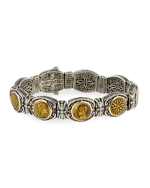 Konstantino - Metallic Silver And Bronze Coin Bracelet - Lyst