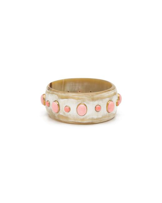 Ashley Pittman - Pink Light Horn Bangle W/ Coral - Lyst