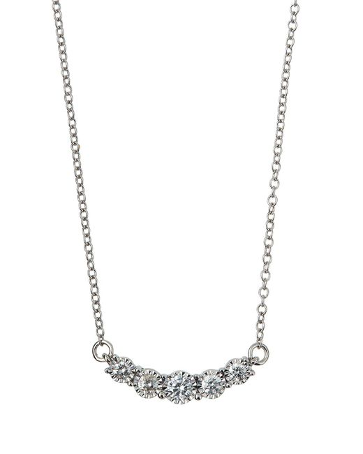 Neiman Marcus - 14k White Gold Diamond Curved Bar Necklace - Lyst