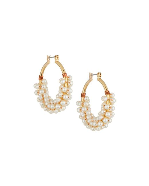 Nakamol - White Pearl Cluster Hoop Earrings - Lyst
