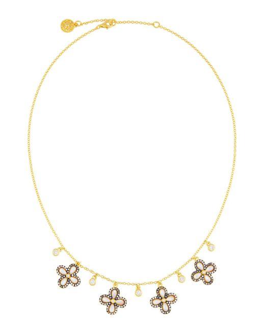 Freida Rothman - White Pave Crystal Clover Fringe Necklace - Lyst