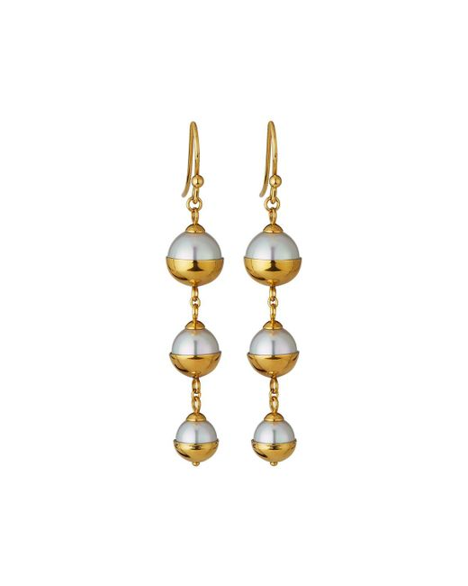Majorica - White Graduated Triple-pearl Dangle Earrings - Lyst