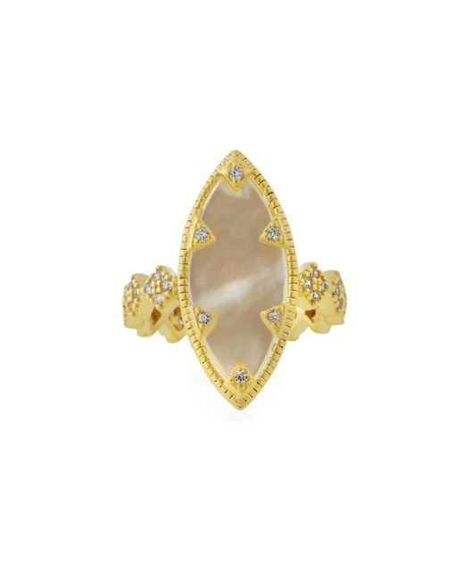 Freida Rothman - White Textured Mother-of-pearl Eyelet Ring Size 7 - Lyst