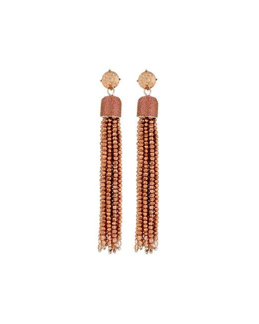 Lydell NYC - Orange Glass Tassel Drop Earrings - Lyst