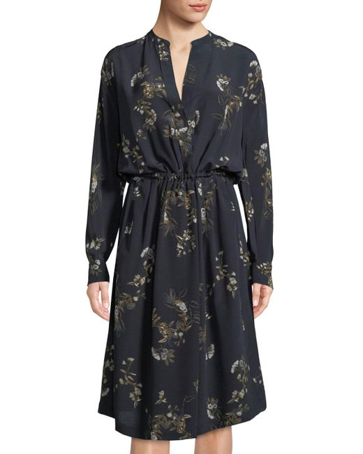 Vince - Blue Spaced Floral-print Tie-waist Shirtdress - Lyst