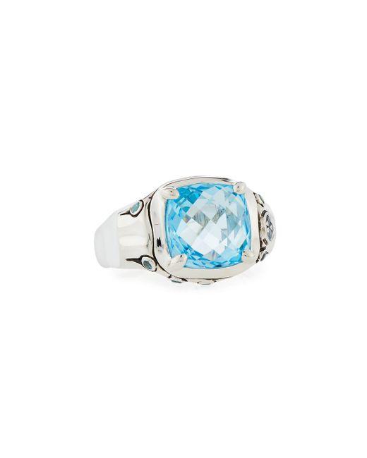John Hardy - Batu Bamboo Sky Blue & Swiss Blue Topaz Cushion Ring - Lyst