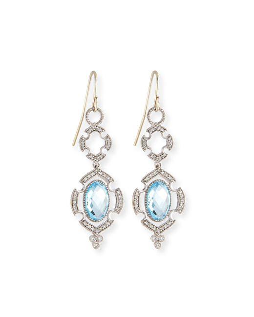 Jude Frances | Malta 18k Sky Blue Topaz & Diamond Drop Earrings | Lyst