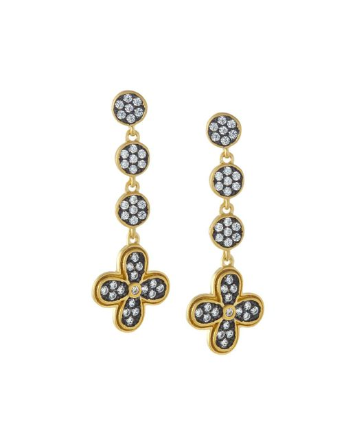 Freida Rothman - Metallic Pave Medallion Clover Dangle Earrings - Lyst