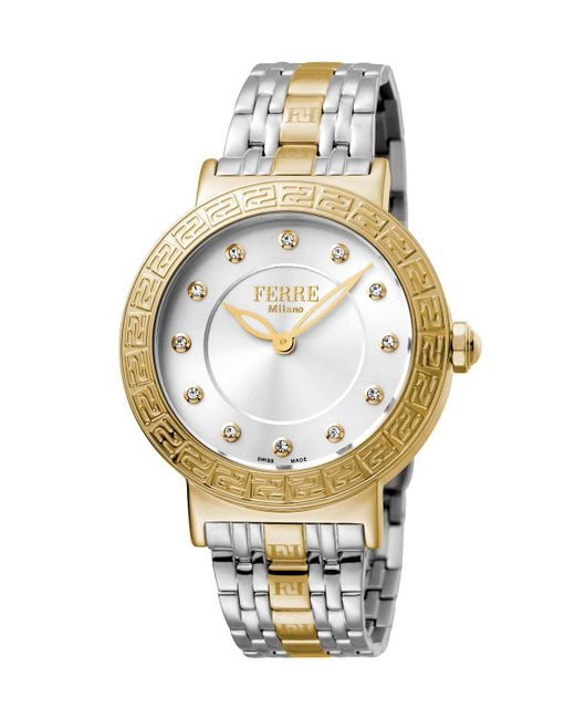 Ferrè Milano - Metallic Women's 38mm Stainless Steel Watch With Bracelet Golden/steel - Lyst