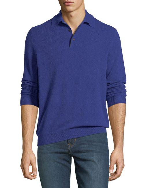 Neiman Marcus - Black Men's Cashmere Long-sleeve Polo Sweater for Men - Lyst