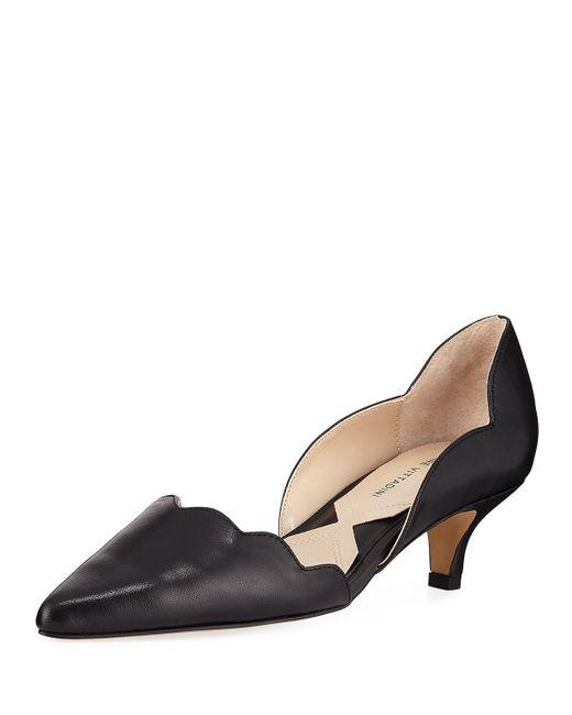 Adrienne Vittadini - Black Serene Scalloped Kitten-heel Pumps - Lyst