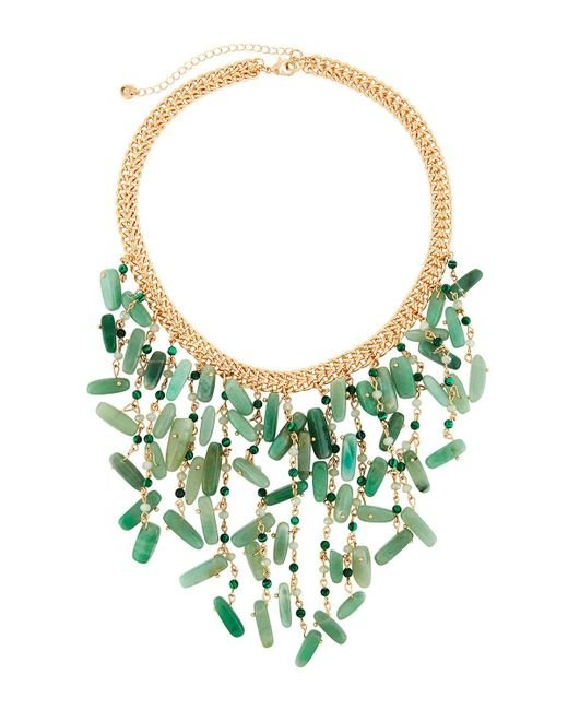 Lydell NYC - Green Statement Bib Necklace - Lyst