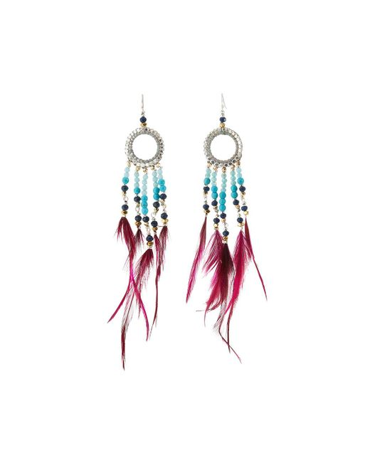 Nakamol - Multicolor Long Beaded Hoop Drop Feather Earrings - Lyst