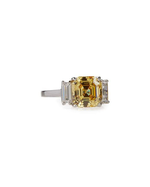 Fantasia by Deserio | Yellow Asscher-cut Canary Crystal Cocktail Ring | Lyst