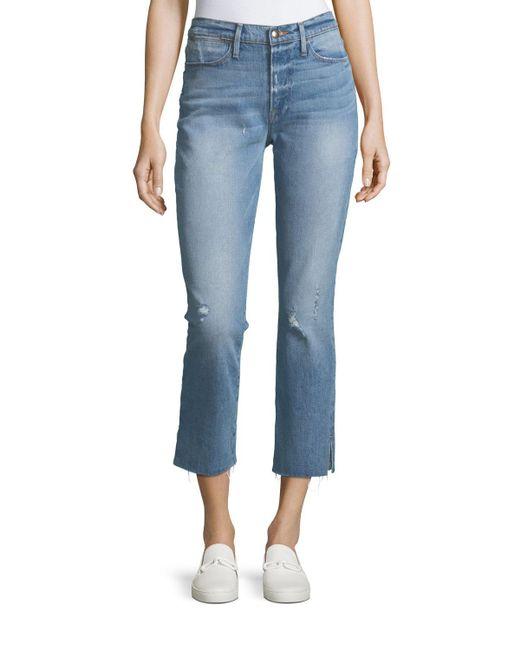 FRAME - Blue Le High Straight-leg Raw-edge Slit Jeans - Lyst