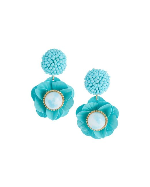 Lydell NYC - Blue Floral Drop Earrings - Lyst