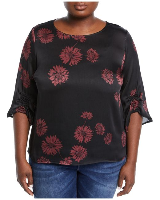 Vince Camuto Signature - Black Gathered-sleeve Boat-neck Floral Blouse Plus Size - Lyst