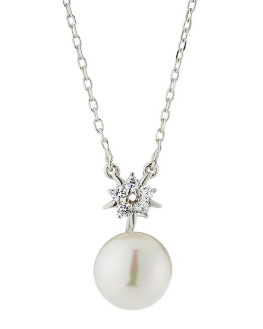 Majorica - White You & I Starburst Cubic Zirconia & Manmade Pearl Necklace - Lyst