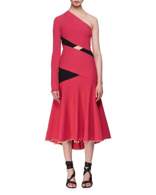 Proenza Schouler - Red One-shoulder Exposed Bandage Midi Dress Fuchsia - Lyst