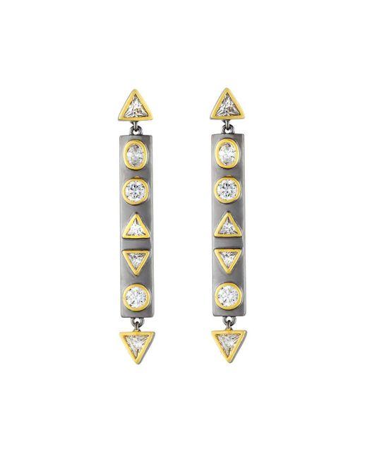 Freida Rothman | Metallic Geometric Crystal Bar Earrings | Lyst