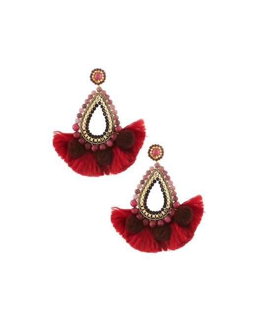 Nakamol - Red Beaded Teardrop Tassel Earrings - Lyst