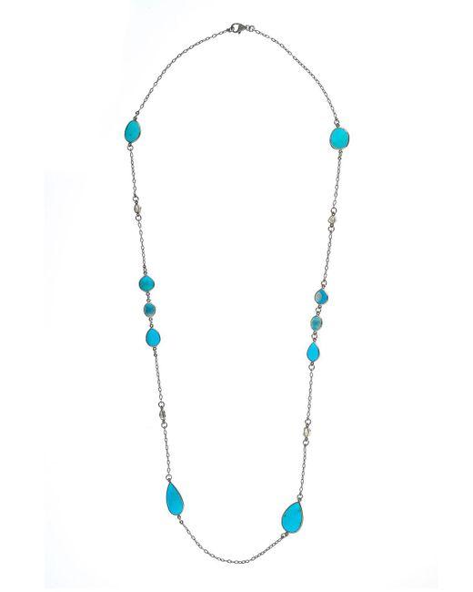 Bavna - Metallic Silver Turquoise & Diamond Station Necklace - Lyst