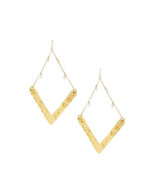 Devon Leigh - Metallic Golden Wedge Dangle Drop Earrings - Lyst