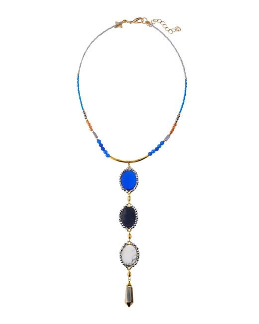 Panacea | Blue Beaded Stone & Crystal Y-drop Statement Necklace | Lyst