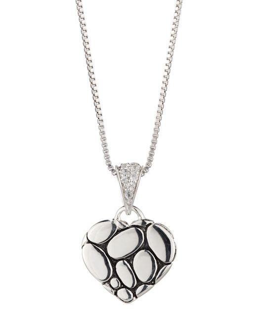 John Hardy - Kali Lava Heart Pendant Necklace W/ White Sapphires - Lyst